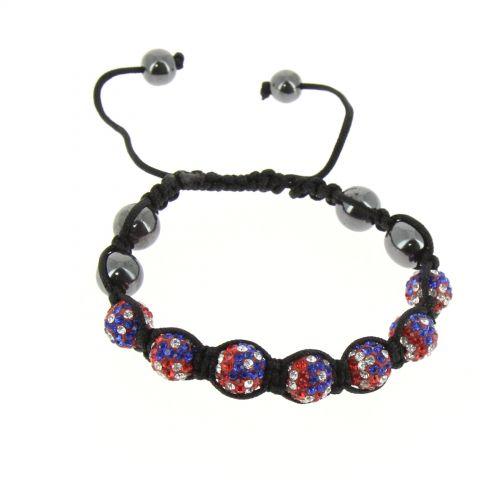Bracelet shamballa 7 disco ball, Drapeau Américain Noir - 2117-36160