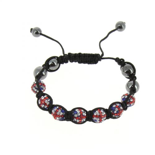 7-pearl shamballa bracelet, English flag, ABBIE