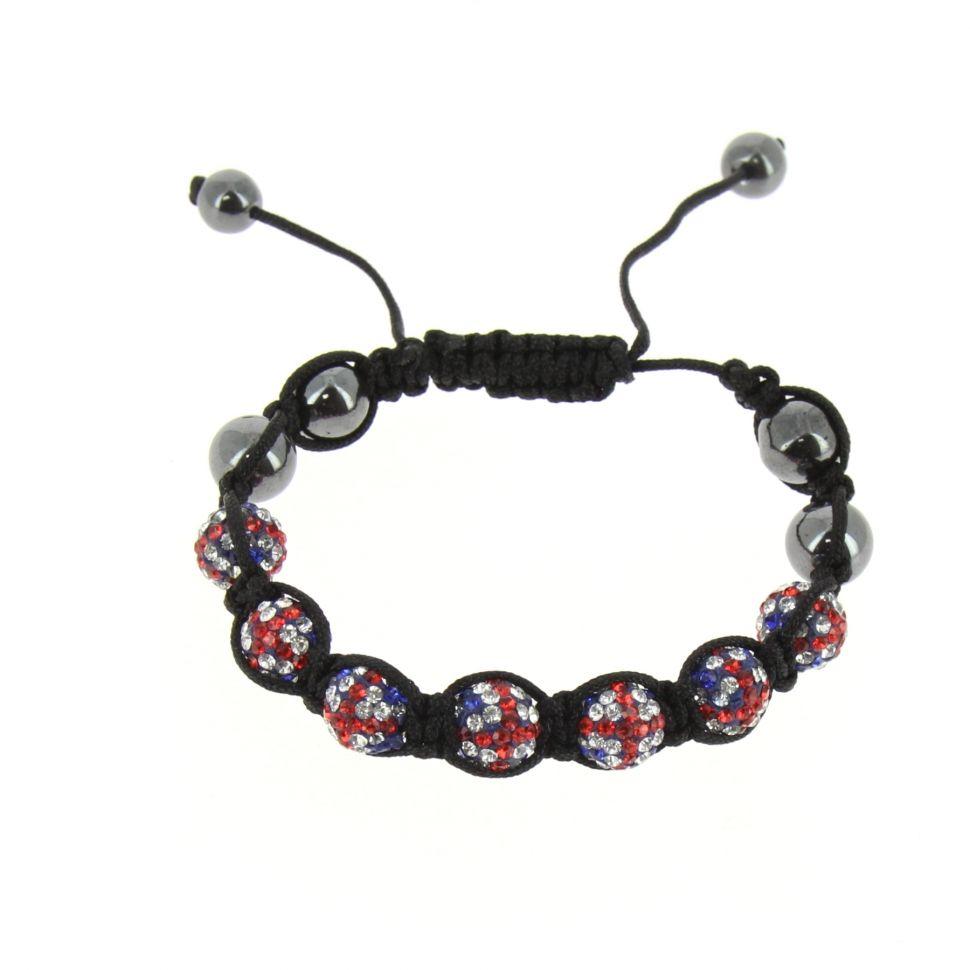 Bracelet shamballa 7 disco ball, Drapeau Anglais Noir - 4553-36162