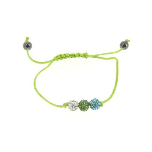 Bracelet AOH-78, Shamballa 3 strass Noir-Rouge Vert - 1590-36171