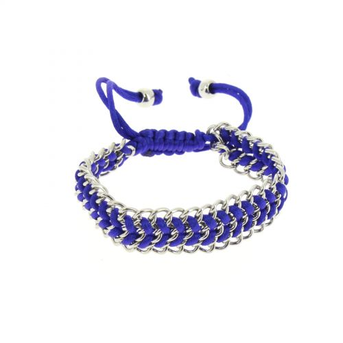 Bracelet shamballa tressé sur chaine Bleu cyan - 4082-36187