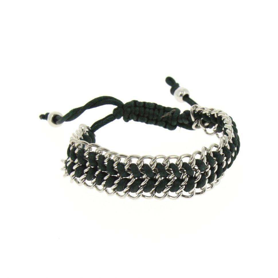 Bracelet shamballa tressé sur chaine Vert - 4082-36189