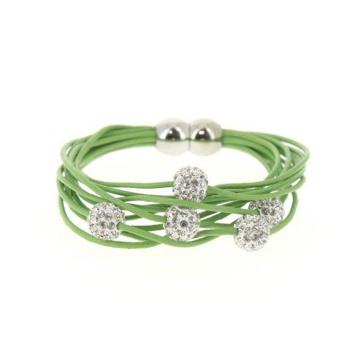 Bracelet aimanté cordons en cuir 5 disco ball Vert - 3035-36211