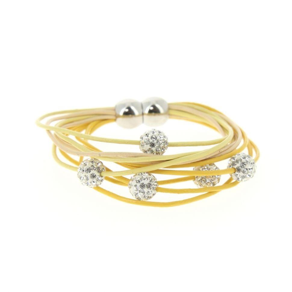 Bracelet aimanté cordons en cuir 5 disco ball Jaune - 3035-36216