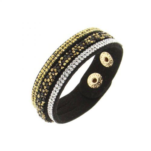 Bracelet similicuir strass 8812 Noir (Doré) - 9593-36265