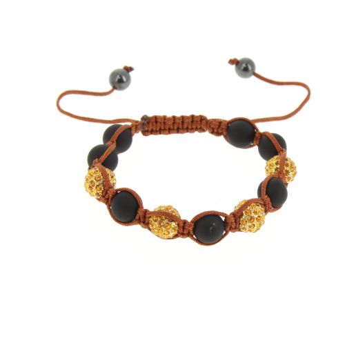 Bracelet Shamballa AOH-70 hématites, perles noir Camel - 1709-36277
