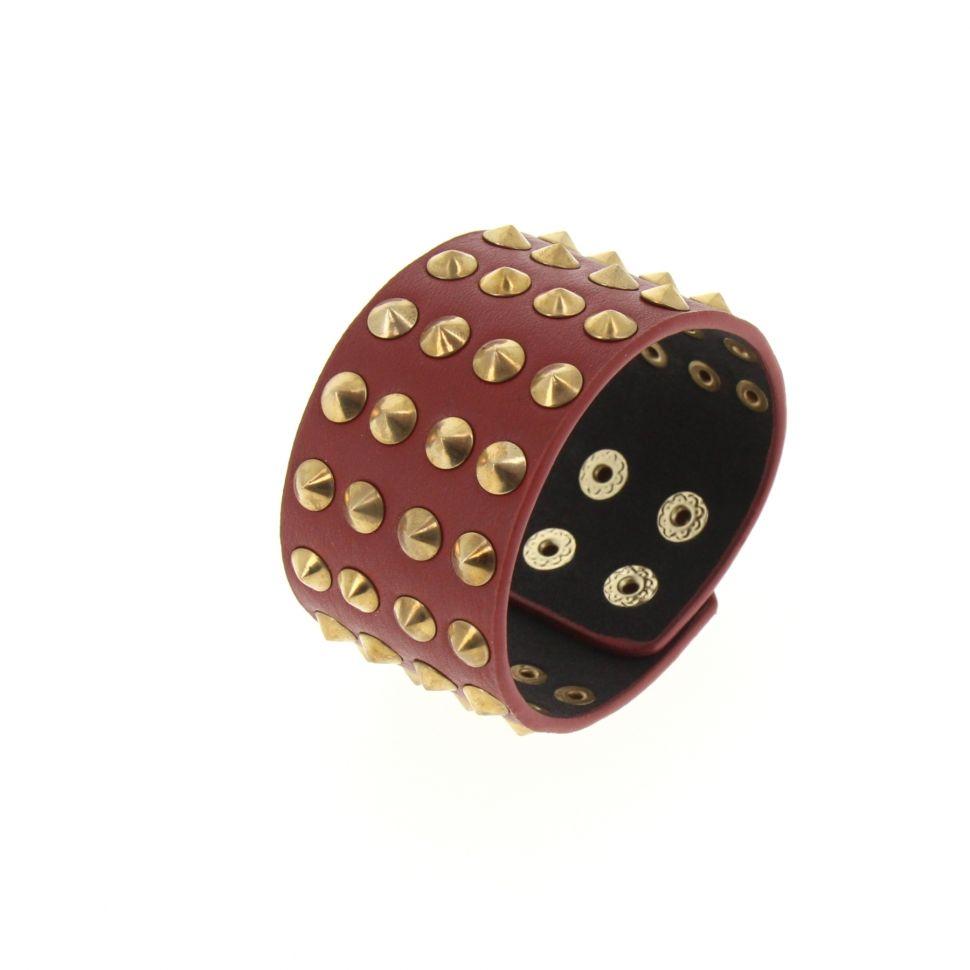 Bracelet similicuir cloutés, BR42-22 Rouge - 3971-36281