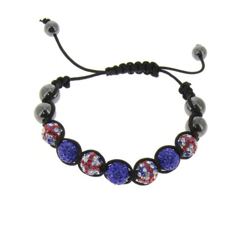 7-pearl shamballa bracelet, English flag, TOIREASA