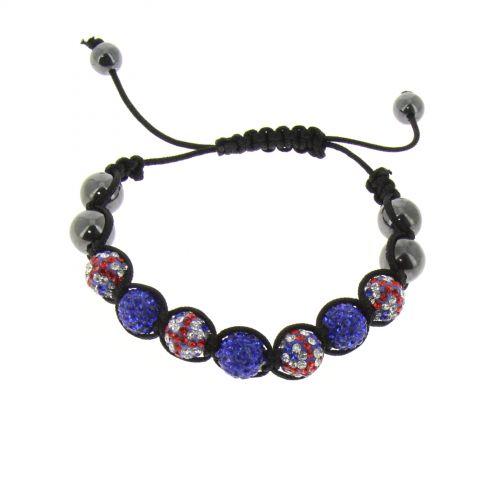 Bracelet shamballa 7 disco ball, Drapeau Anglais TOIREASA Noir (Bleu) - 3419-36295