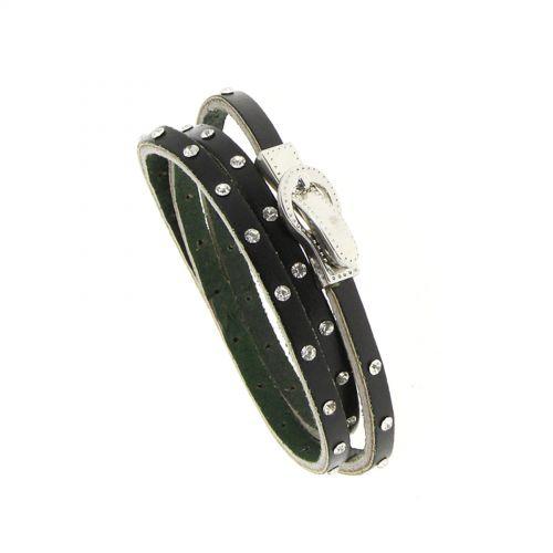 Bracelet wrap en cuir 8474 CEDELLA Noir - 8711-36321