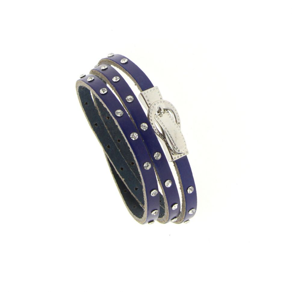 Bracelet wrap en cuir 8474 CEDELLA Bleu marine - 8711-36326