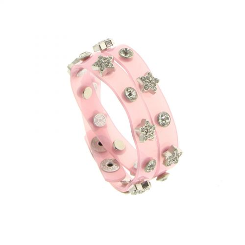 Bracelet double tours pvc Rose - 7255-36361