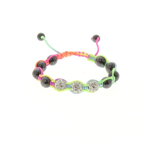 Bracelet shamballa 3 disco ball céramique Multicouleur