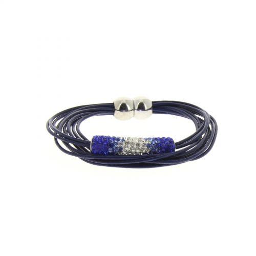 Bracelet aimanté, strass Bleu marine - 2179-36373