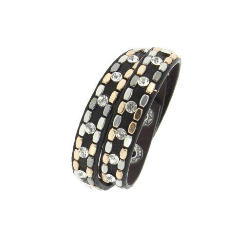 Bracelet wrap cloutés strass NAIKA Noir - 9702-36392