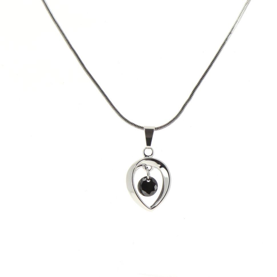 Collier pendentif cristal KINZA Argenté (noir) - 10166-36418