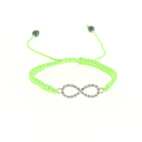 Bracelet shamballa infini argentés , 4007 vert fluo Vert fluo - 5036-36474