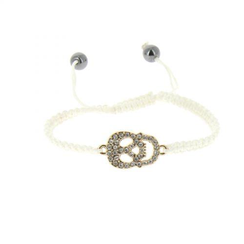 Rhinestone skull shamballa bracelet, DEVA
