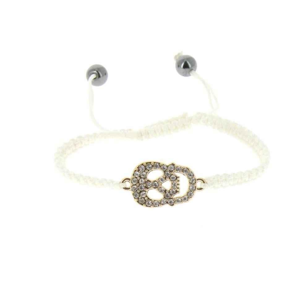 Bracelet shamballa tête de mort strass Blanc - 4699-36498