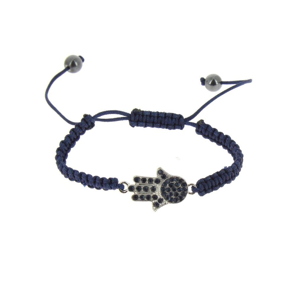 Bracelet fantaisie, Main de Fatima, AOH-61 Bleu marine - 6088-36503