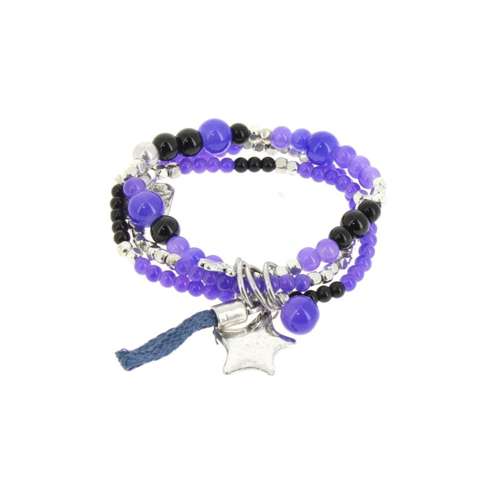 Bracelet extensible coeur et perles, E018 Bleu - 1793-36531