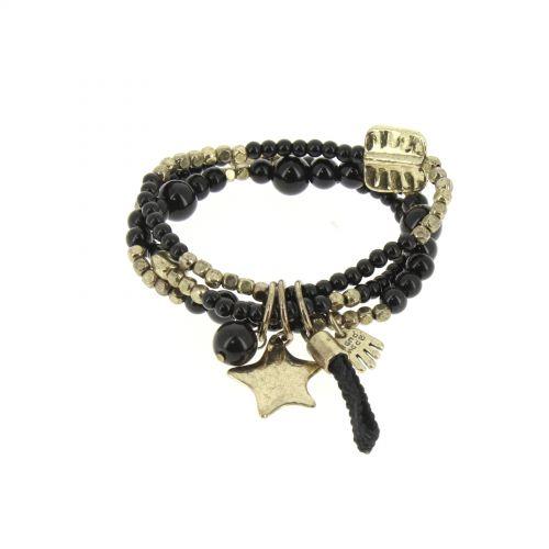 Bracelet extensible coeur et perles, E018 Noir - 1793-36534