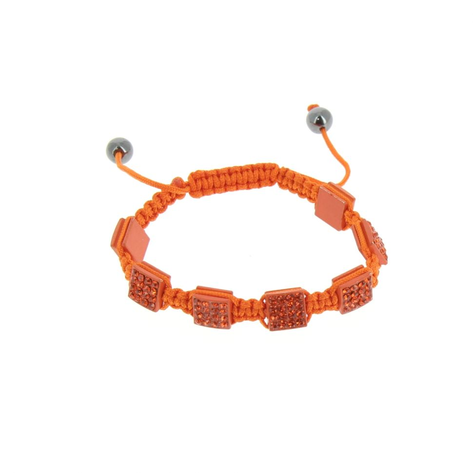 Bracelet Shamballa, Carré, AOH-60 Orange - 1515-36535