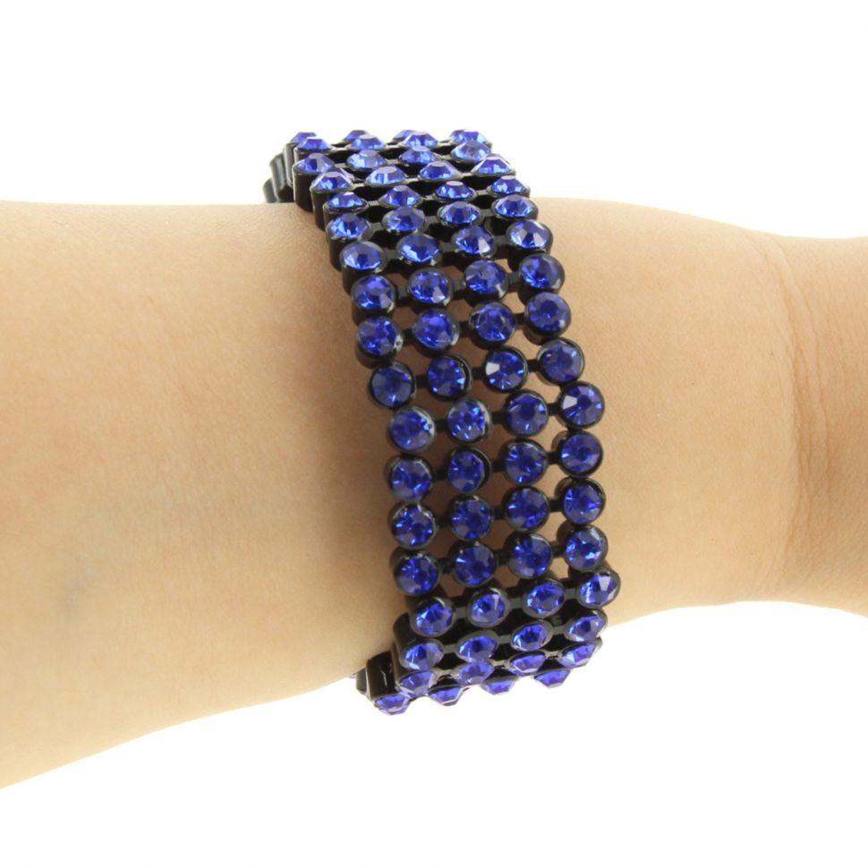 bracelet B044-2 strass de 4 rangées Bleu - 1774-36539