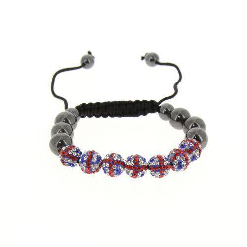 Bracelet Shamballa couleur Drapeau Anglais, YSIA