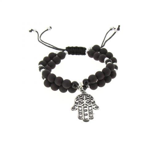 bracelet shamballa fatima en perles de verres et bois D024 Noir-argent - 1789-36563