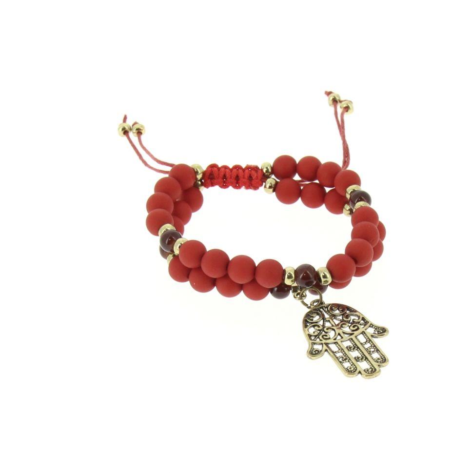bracelet shamballa fatima en perles de verres et bois D024 Rouge - 1789-36567