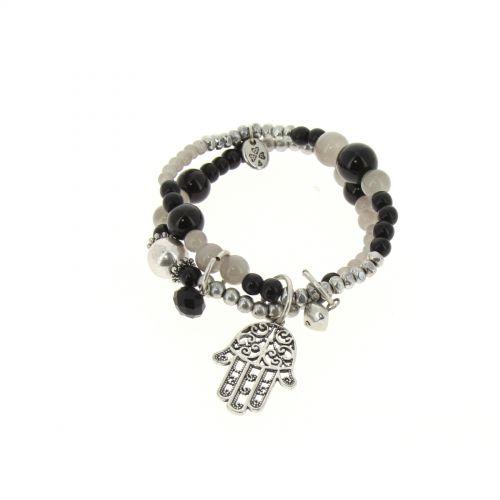 bracelet main de fatima en perles de verre Noir - 1792-36575
