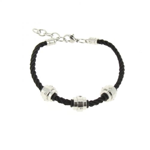 Bracelet cordons Strass en acier DJEYNABA Argenté - 1858-36580