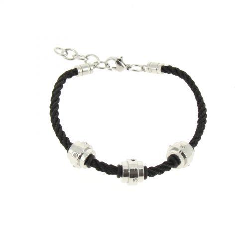 Strass cords bracelet in steel, DJEYNABA