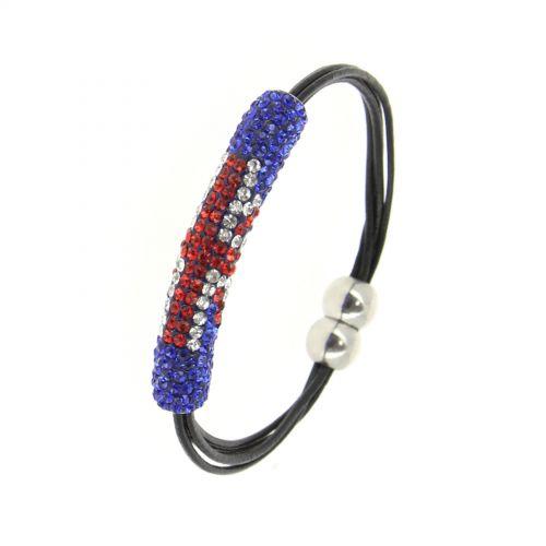 Bracelet aimanté shamballa drapeau anglais Noir - 2002-36593