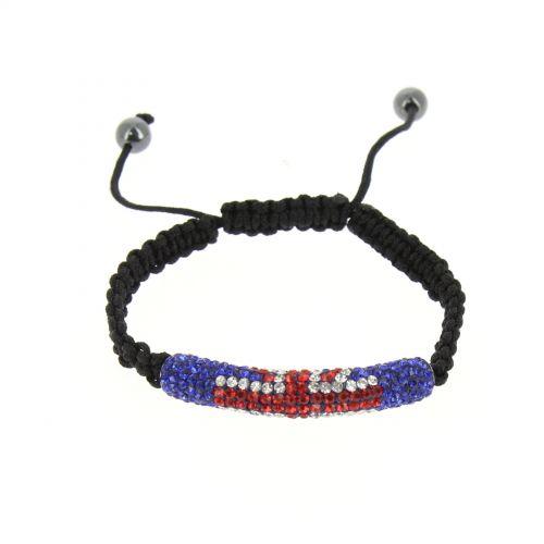 Bracelet shamballa mille strass, drapeau anglais AOH-93 Noir - 1934-36595