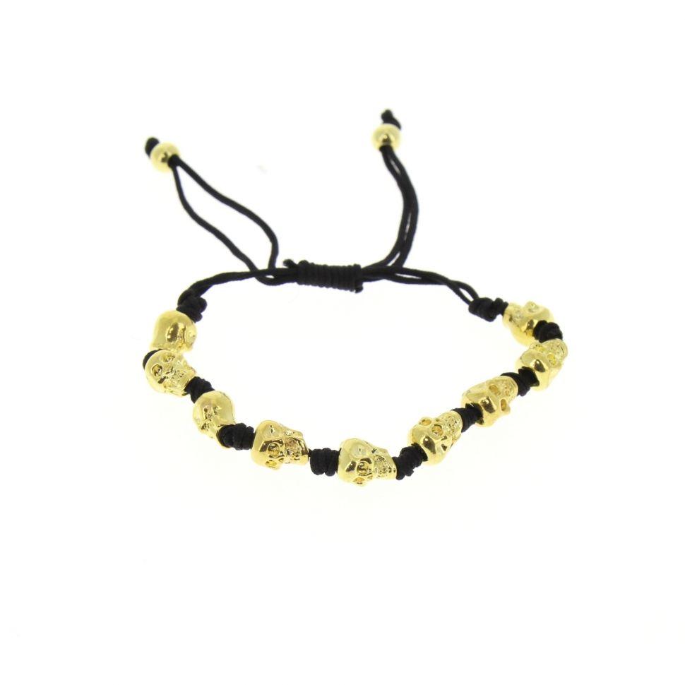 Bracelet fantaisie, tête de mort Noir-Doré - 1555-36601