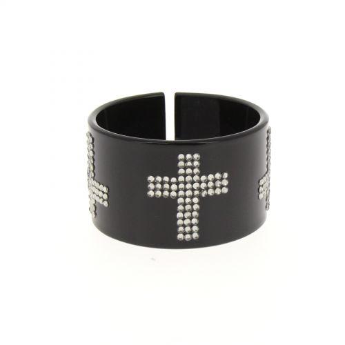 Bracelet polycarbure noir Croix, BOS-33