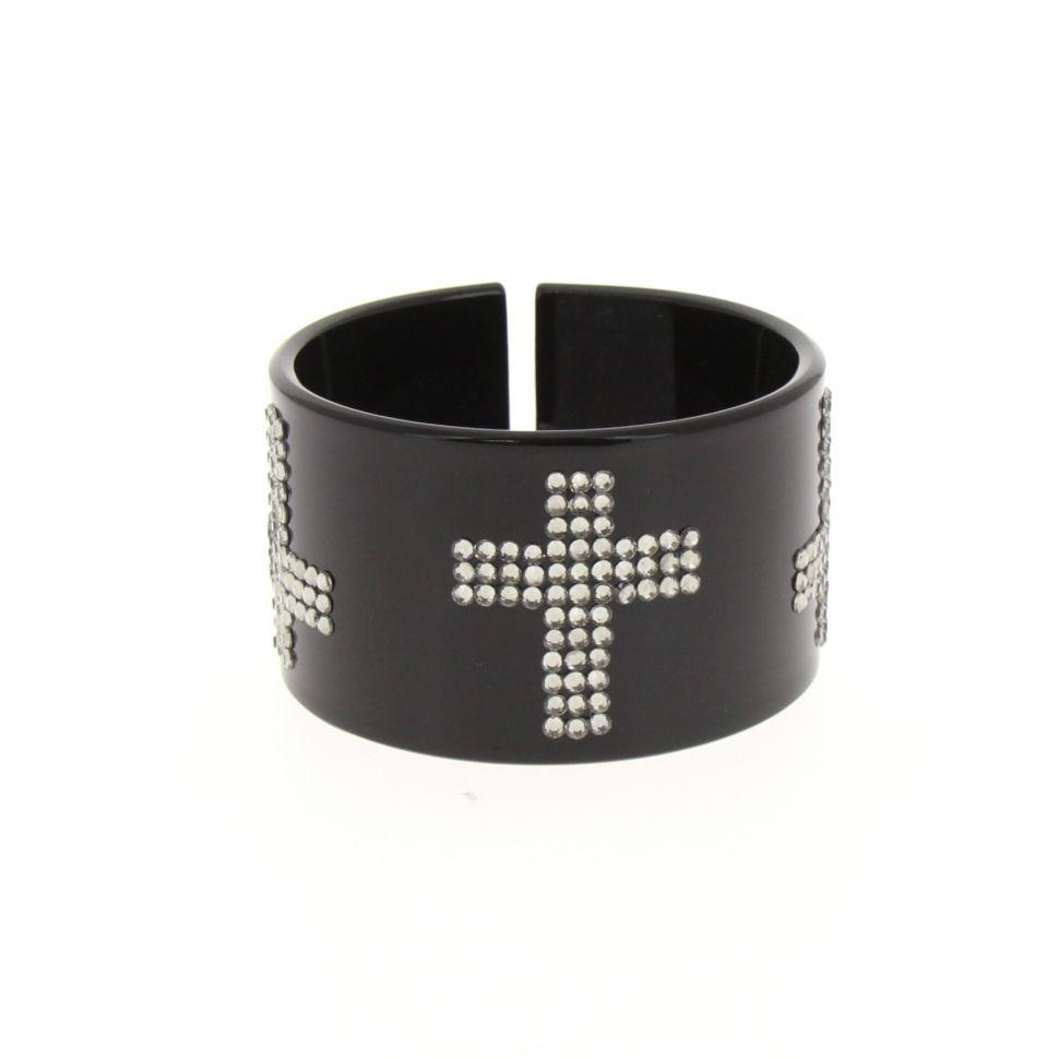 Bracelet polycarbure noir Croix, BOS-33 Noir (Blanc) - 7618-36609