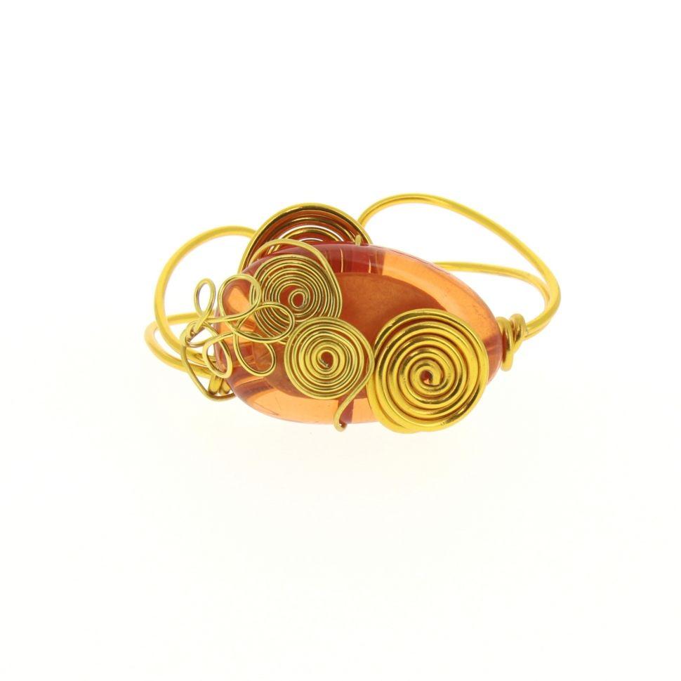 Bracelet fil de fer et resine, BT-2273 Doré - 3762-36635