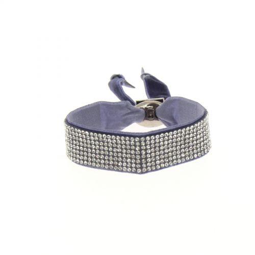 Bracelet ruban velour 8 rangées strass