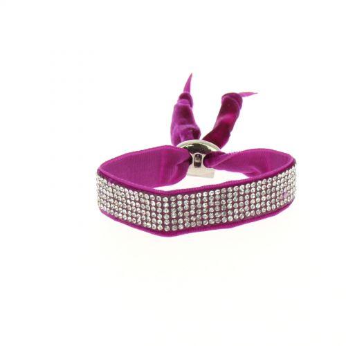 Bracelet strass et velour Fuchsia - 6210-36700