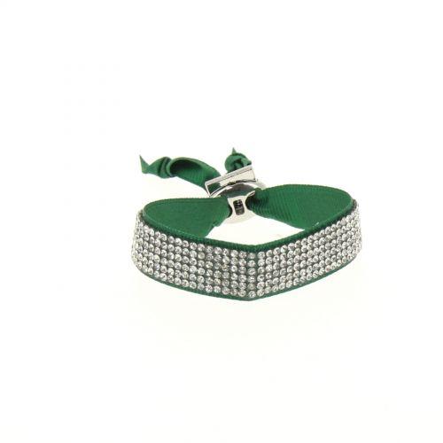 Bracelet ruban 6 rangées de strass Vert - 4890-36715