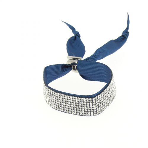 Bracelet ruban 8 rangées de strass Bleu - 4924-36807
