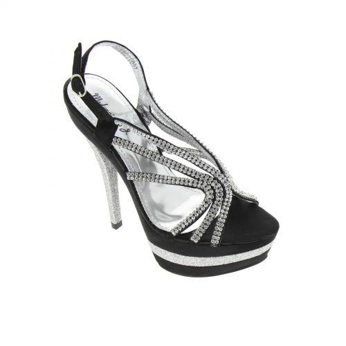 scarpe da sera in raso con strass tela 5948