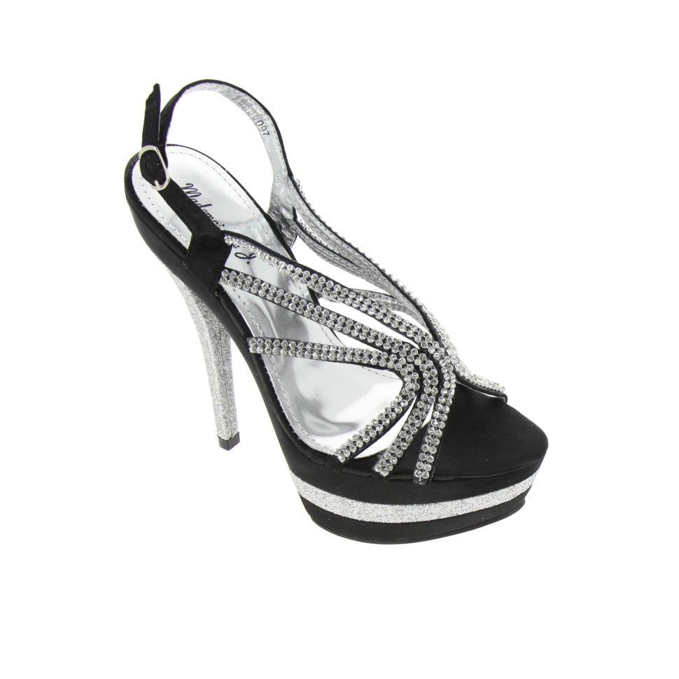 Chaussures de soirée satinées en toile de strass 5948 Noir - 5974-36863