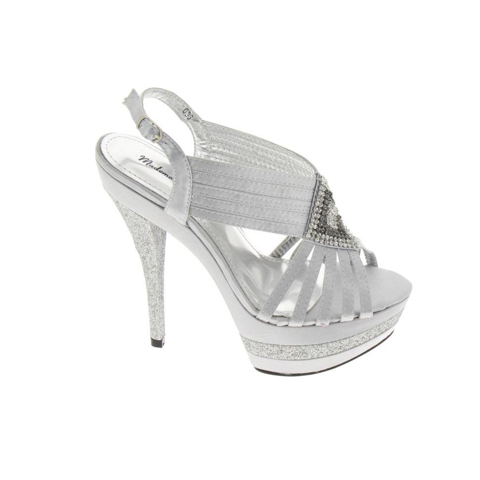 Chaussures de soirée satinées, losange de strass 5947 Argenté - 5964-36881