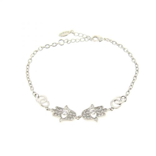 Bracelet main de Fatima à strass ROSE
