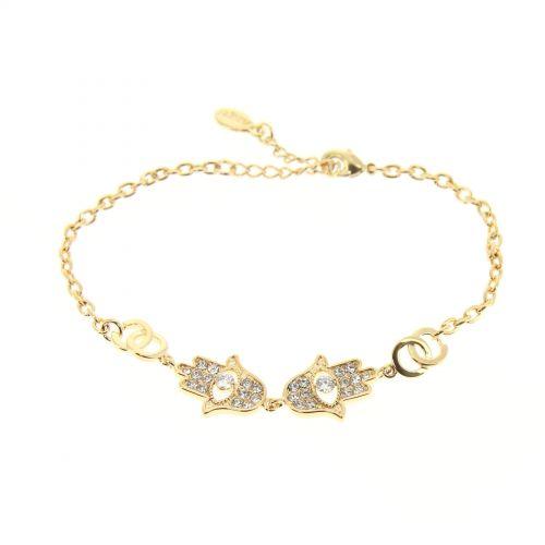 Bracelet a main de Fatima strass Doré - 9318-37068