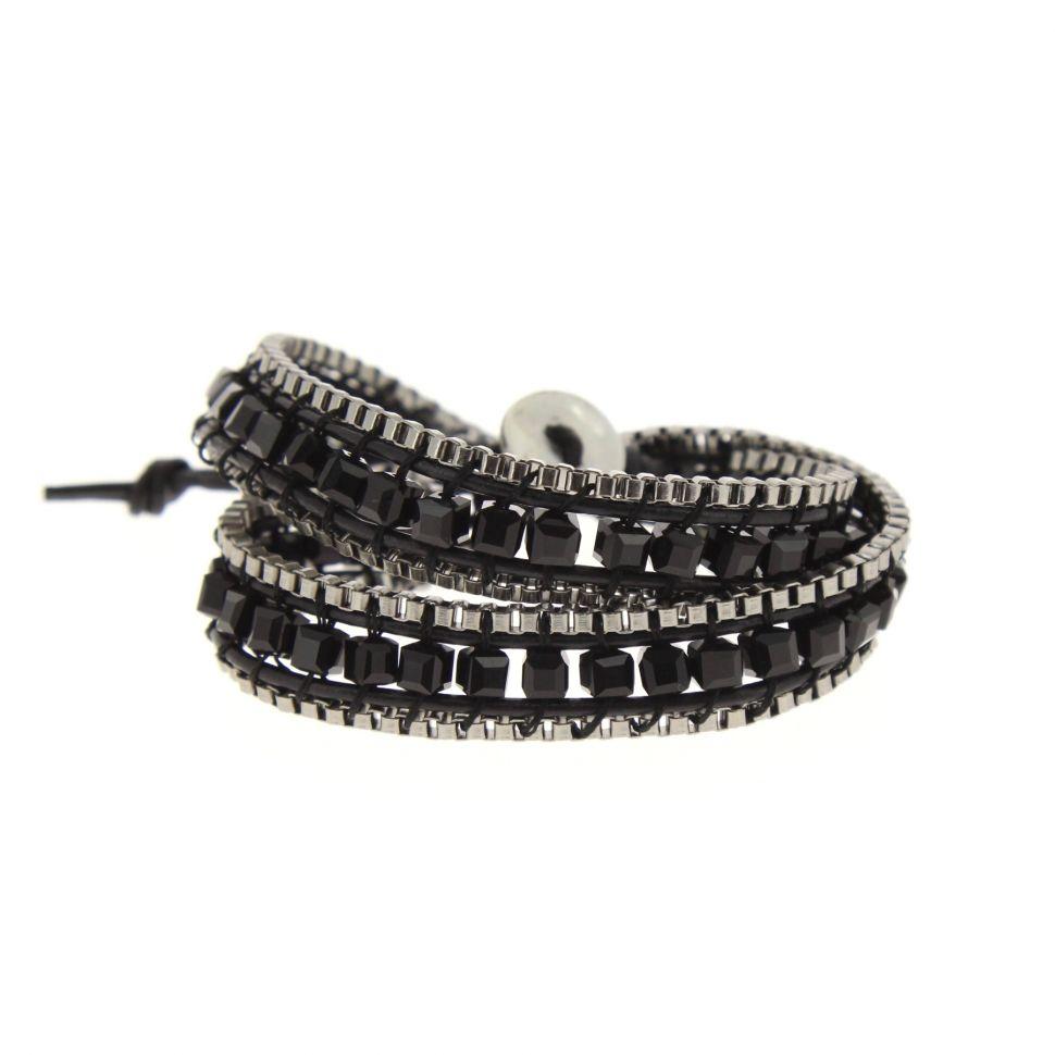 Bracelet 2 tour à pierre tressé, 5851 Noir - 5853-37069